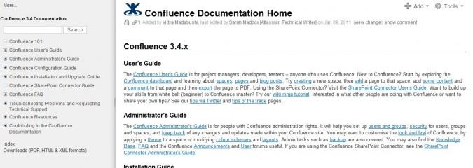 Die Atlassian Produktdokumentation mit einem Confluence-Wiki
