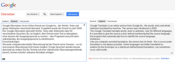 Beispiel Google Übersetzer